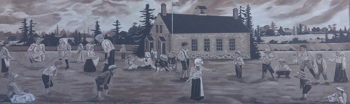 Mural of SS# 5. The original school house in Chemong